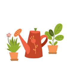 Abstract lush plants in flowerpots and red retro vector