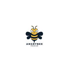 Angry bee honey kids cute cartoon logo design vector