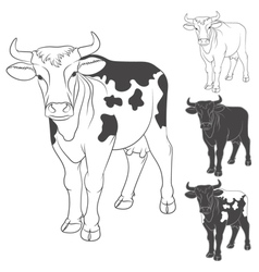 Black and white cow isolated objects vector