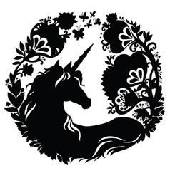 Black silhouette beauty unicorn vector