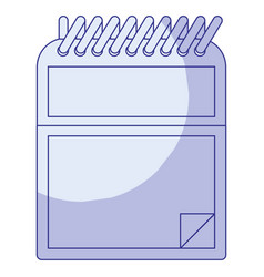 blue shading silhouette of notepad with spiral vector image