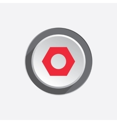 Bolt nut icon Screw symbol Red sign on round vector image