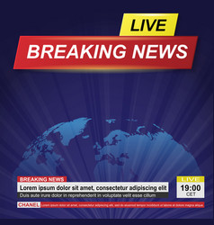 breaking news blue background vector image