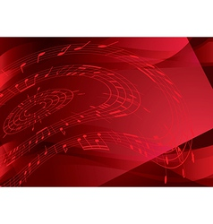 bright red background with music notes vector image