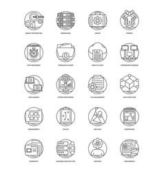 Business and data management line icons set vector