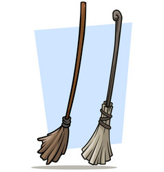 Cartoon broom cleaner and dust icon set vector