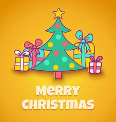 Christmas tree yellow vector
