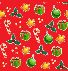 christmas wrapping paper with seamless pattern vector image
