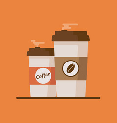 coffee cup with coffee beans on orange background vector image