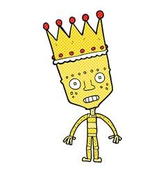 comic cartoon robot with crown vector image