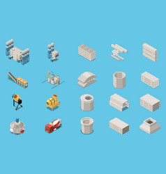Concrete cement production isometric icon set vector