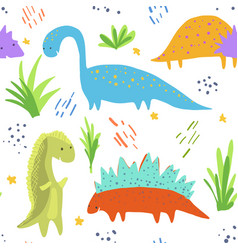 cute bright dinosaurs pattern for kids textile vector image