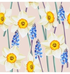 Daffodil and muscari seamless background vector