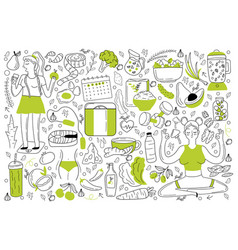 diet doodle set vector image