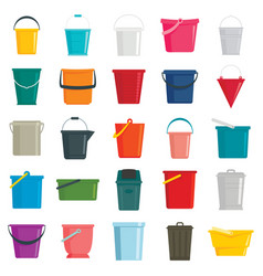 different buckets flat set vector image