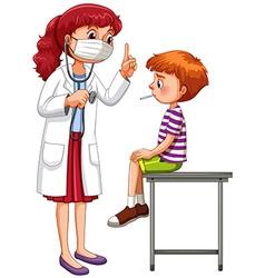 Doctor examining little sick boy vector image