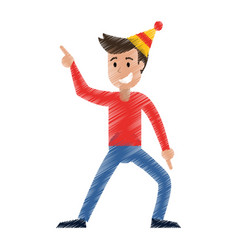 drawing man celebration happiness vector image