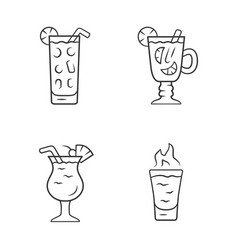 Drinks linear icons set cocktail in highball vector