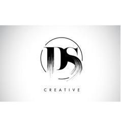 Ds brush stroke letter logo design black paint vector