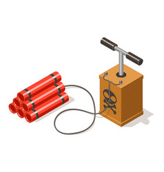 dynamite bomb and detonator isolated on white vector image