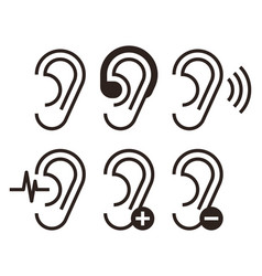 Ear icons hearing problem icons set vector