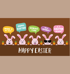 easter bunnies with greeting speech bubbles vector image
