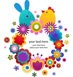 easter greeting card with bunny and bird vector image