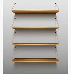 empty wooden bookshelves on wall shelves for books vector image