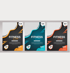Fitness club gym body building and gym flyer temp vector