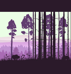 Forest landscape minimalistic pines vector