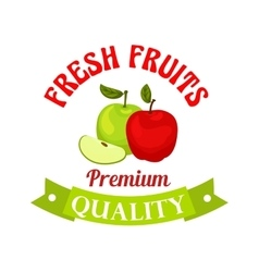 Fresh apple Premium quality fruits sticker vector image