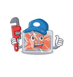 Frozen salmon smart plumber cartoon character vector