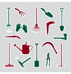 Gardening tools stickers eps10 vector