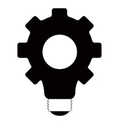 gear lightbulb silhouette vector image