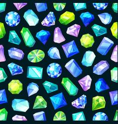 gems jewelry gemstones crystals seamless pattern vector image
