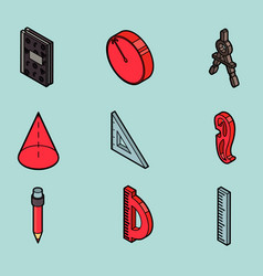 Geometry color outline isometric icons vector