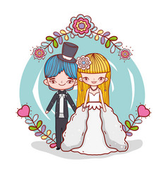 girl and boy couple marriage with flowers plants vector image