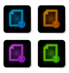 glowing neon document and lock icon isolated on vector image