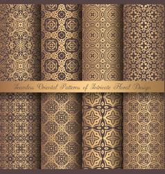 Golden arabesque patterns vector