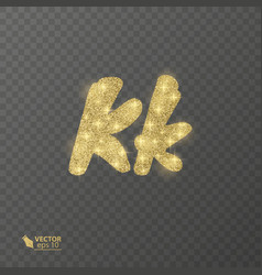 golden shiny letter k on a transparent background vector image