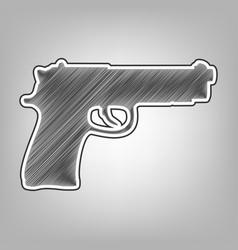 gun sign pencil sketch vector image
