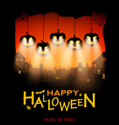 Halloween design pumpkins with light from eyes on vector