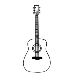 hand drawn guitar doodle icon isolated on white vector image