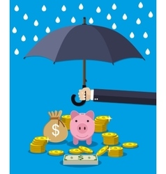 Hand holding umbrella under rain to protect money vector image