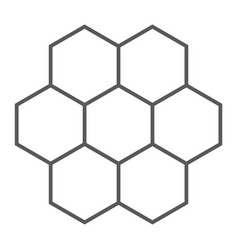 Honeycomb thin line icon food and honey hexagon vector