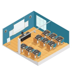 Interior Poster Of Modern Classroom vector
