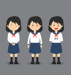 Japanese school character with expression vector