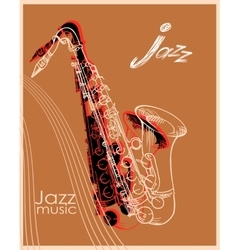 Jazz saxophone poster vector