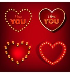 Lamp Heart Banners Set vector