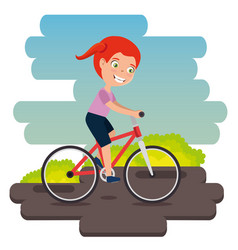 little girl in bicycle happy character vector image